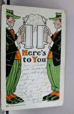 Comic Cartoon Here's To You Postcard Old Vintage Card View Standard Souvenir PC