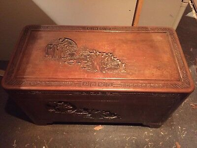 Large Oriental Chinese Carved Camphor Vintage  Chest