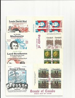 4 plate block FDC issued and postmarked by the Canadian Senate #515 516 518&531