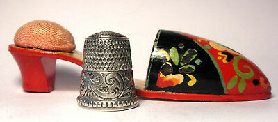 Vintage Wooden Shoe Thimble Holder / Pin Cushion from Hungary w/Sterling Thimble