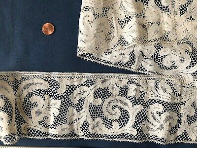 Antique Milanese bobbin lace with curious reworked bobbin lace top edge. COLLECT