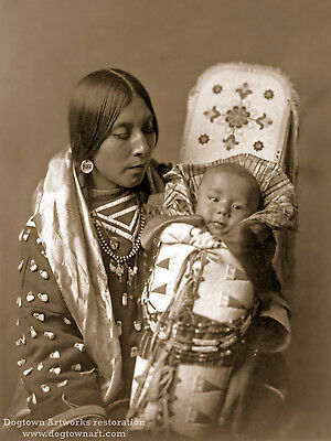 Giclee Reprint VTG Native American Indian Photo CROW MOTHER CHILD Edward Curtis