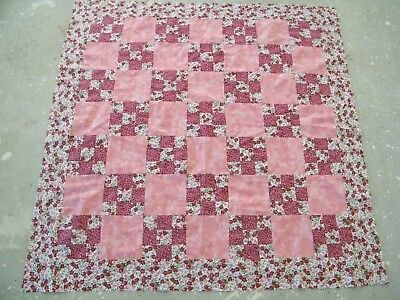 Pink  Floral Quilt Top 46 X 46 Inches
