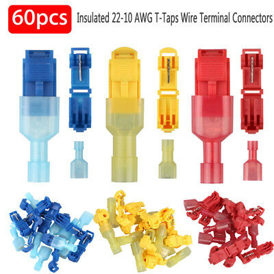 60pcs T-Taps Insulated 22-10 AWG Quick Splice Wire Terminal Connectors Combo Kit