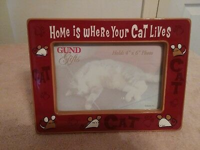 """Gund """"Home Is Where Your Cat Lives"""" 4 x 6 Ceramic Picture Frame"""