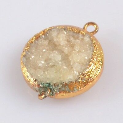 16mm Round Natural Agate Druzy Geode Connector Gold Plated B076107