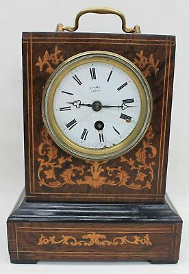 HENRY MARC A Paris Antique French Rosewood Marquetry Inlaid Campaign Clock