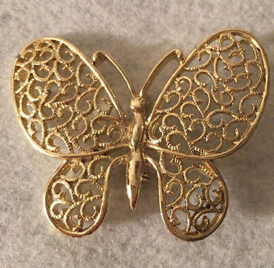 Vintage Gold Tone Designer Signed Filigree Butterfly Brooch Pin Jewelry