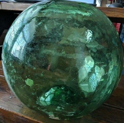 "VINTAGE LARGE ROUND GREEN GLASS FISHING FLOAT 10""-11"" diameter w/ Barnacles"