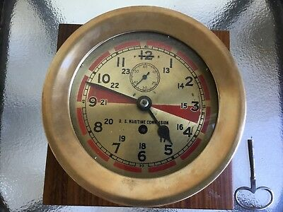 "Brass Radio Room Clock Chelsea? Seth Thomas? 6"" Dial WWII"