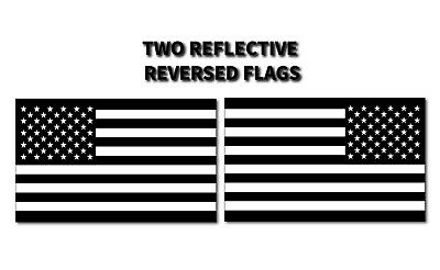 2x REFLECTIVE REVERSED BLACK American Flag Police USA MADE Decal Stickers TRUCK