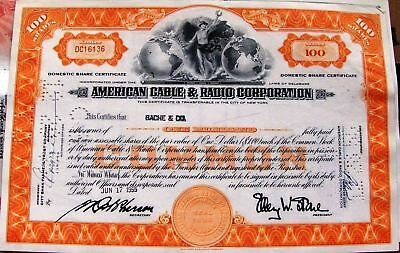 2 different. Stock Certificate American Cable & Radio Corporation New York