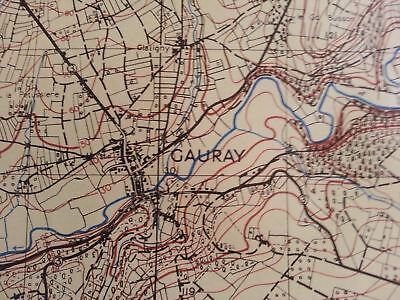 WWII 6th Armored Division Seine River France Original MIlitary Field Map 1943