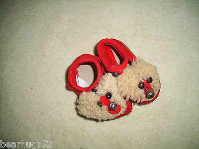 Child's Original Felt Wool Slippers with Shoe Button Fasteners & Brass Bells