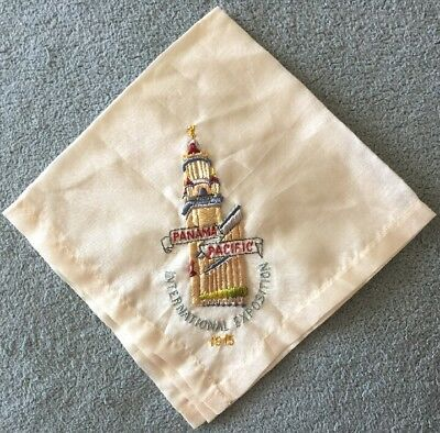 1915 Panama Pacific International Exposition Silk Embroidered Handkerchief