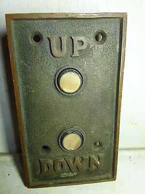 Antique Elevator Panel Plate Up Down Bronze Brass 2 Button  Embossed