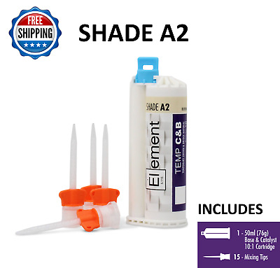 ELEMENT Temporary Crown and Bridge Material Cartridge 76g w/ 15 tips SHADE A2