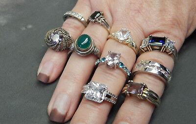 10 Sterling Silver Rings with Stones