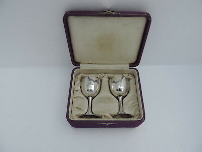PAIR FINEST JAPANESE ANTIQUE STERLING SILVER CORDIALS CUPS GOBLETS 52 gr 1.8 OZ