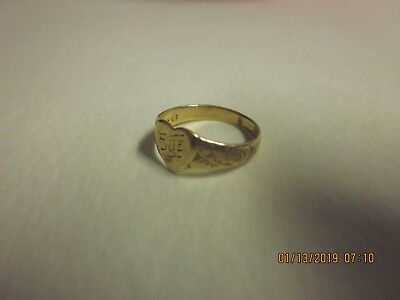 Vintage Antique 10K Yellow Gold Baby Pinkie Signet RING etched w/Flowers