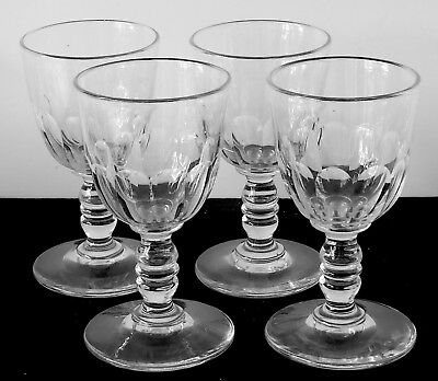 Set 4 Antique 19th Century Panel Cut Cordial Wine Glass Double Knopped Stems