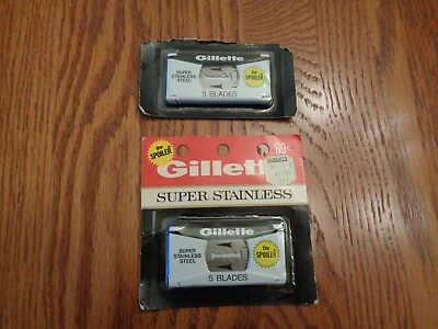 10 Vintage Gillette Super Stainless The Spoiler Razor Blades New in Package