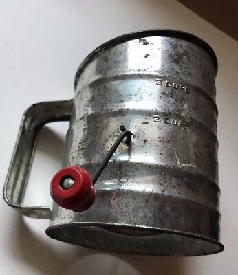 "Antique Vintage ""Brite-Pride"" Kitchen Flour Sugar Sifter Measure"