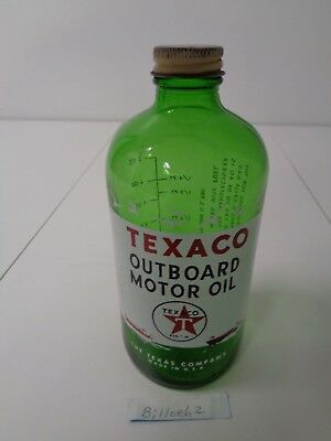 Texaco One Quart Outboard Marine Motor Oil Bottle  Empty No Date Code Or Weight