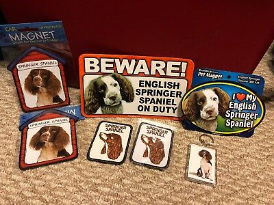 New Springer Spaniel Dog Set Magnets Keychain Patches