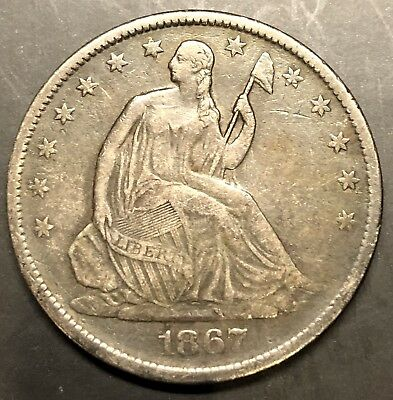 1867 S Seated Liberty Half Dollar 50c, EXTRA FINE, STRONG DETAILS!