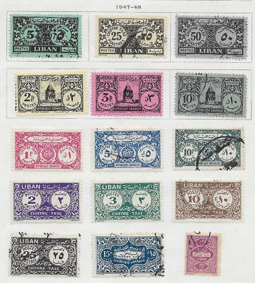 15 Lebanon Postage Due Stamps from Quality Old Album 1947-1948
