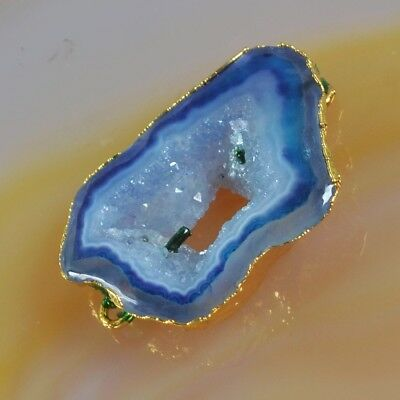 Blue Agate Druzy Geode Connector Gold Plated B076143