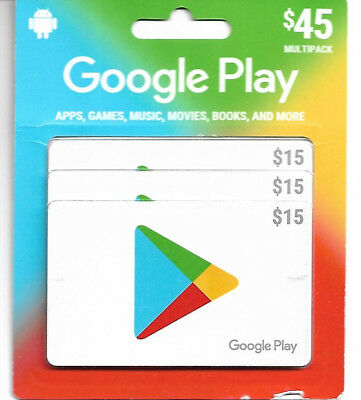 $45 Google play gift cards (3X$15) - NEW