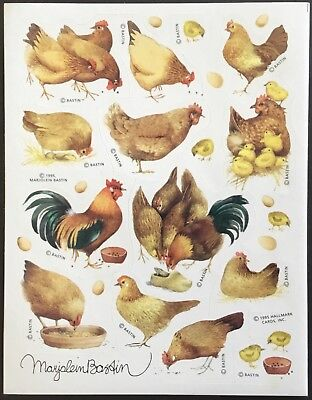 Vintage Stickers - Hallmark - Chickens - Marjolein Bastin - Dated 1995