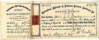 Columbia, Chicago & Indiana Central Railway Co stock certificate dated 1868 -69