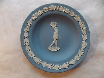 Wedgewood Blue Jasperware Lady Woman Golfer Pin Dish Plate 4-3/8""