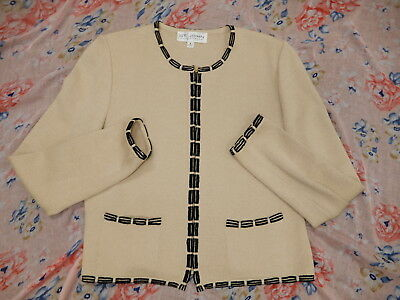 ST. JOHN Collection black and beige zip cardigan jacket size 6 L@@K!