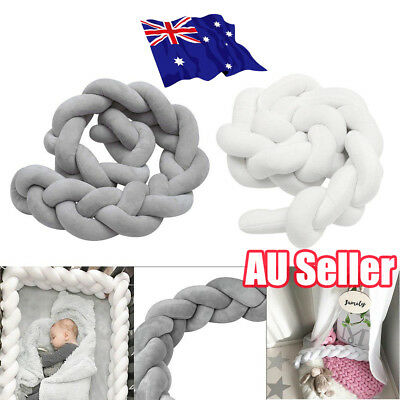 2/3M Infant Baby Plush Crib Bumper Bedding Bed Cot Braid Pillow Pad Protector ON