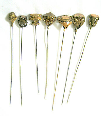 Antique Ornate VICTORIAN Gold Filled HAT PIN LOT of 7