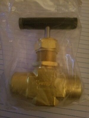 "Swagelok B-18RF8 3000PSI Brass 1/2"" FNPT Industrial Needle Valve with handle"
