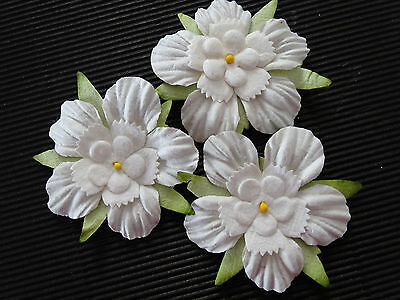 20 x 45mm WHITE Mulberry Paper FLOWERS MPFF41 Paper Crafts Scrapbooks Cards