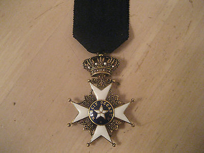 Sweden Silver Gilded Order Of North Star , Knight's Badge , Correct Ribbon