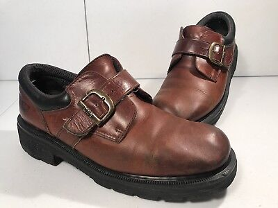 Dr. Martens 9238 Brown Boots with Buckle, Mens Size 7, Made In England