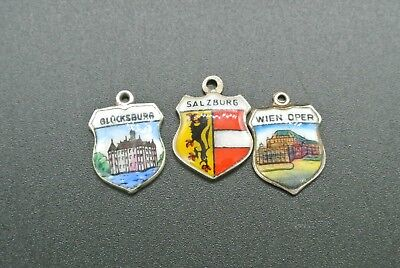 Lot of 3 Vintage 800 & 835 Silver Enamel Travel Shield Charms for Your Bracelet