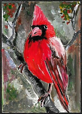 ACEO Original Painting Art Card Acrylic Bird Cardinal 100% Hand Painted