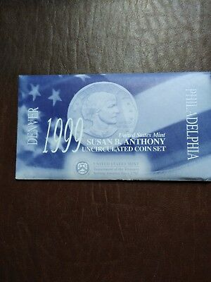1999 P & D Susan B. Anthony Dollar Uncirculated Set In Envelope - Us Mint