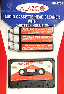 Audio Tape Cassette Head Cleaner w/ 3 Cleaning Fluids Care Wet Maintenance...