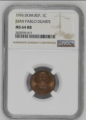 Dominican Republic 1 Centavos 1976 NGC MS63 RB Beautiful