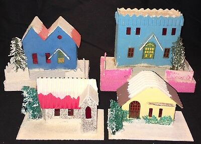Group Of Colorful Vintage Glitter Cardboard Putz Houses