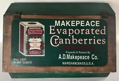 Vintage MAKEPEACE EVAPORATED CRANBERRIES WOODEN COUNTER TOP DISPLAY BOX, c. 1900